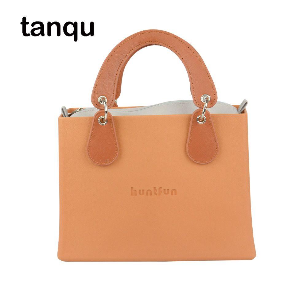 New huntfun EVA square Bag with Concise curved Belt Handle with Drops waterproof inner pocket women O bag style Handbag Obag