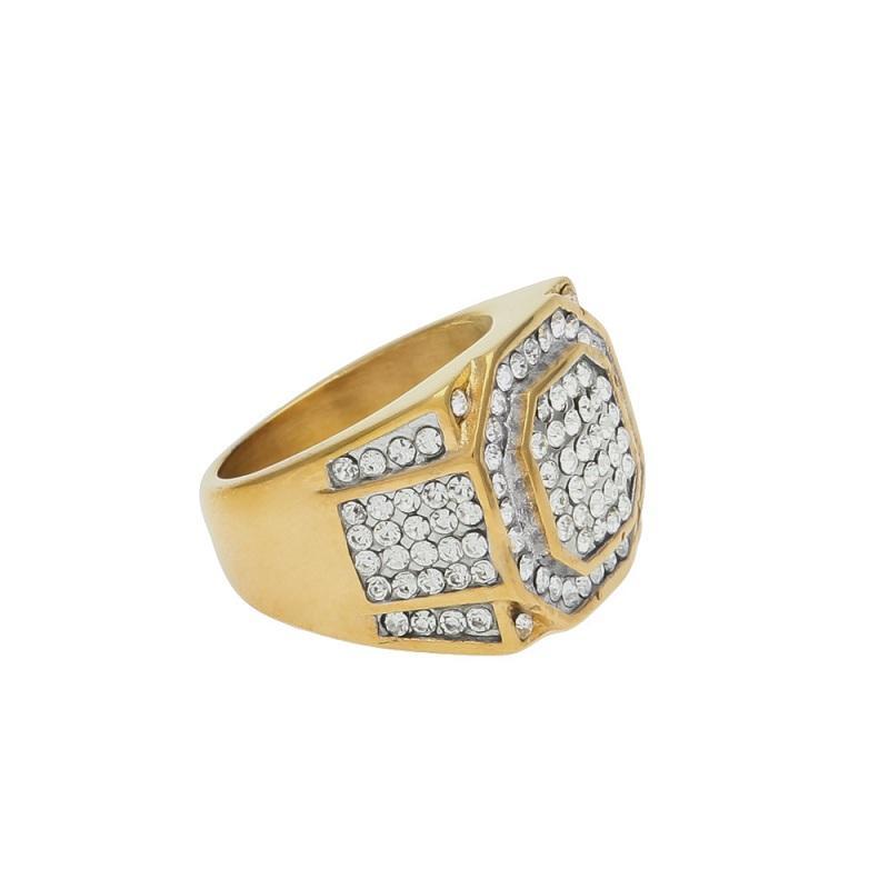 망 힙합 돌 링 쥬얼리 골드 도금 다이아몬드 큰 stainles 강철 반지