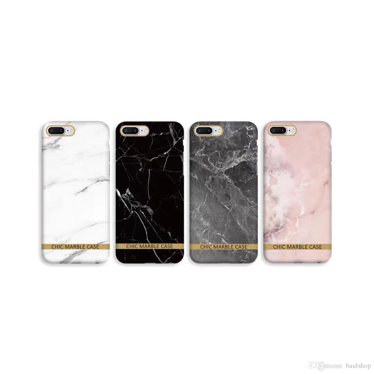 new product 8f54b 52bf8 Glossy Marble Phone Case For Iphone 7 Case Fashion Chic Gold Bar Back Cover  Hard PC Cases For Iphone7 7 Plus Fundas Coque Cell Phone Case Covers ...