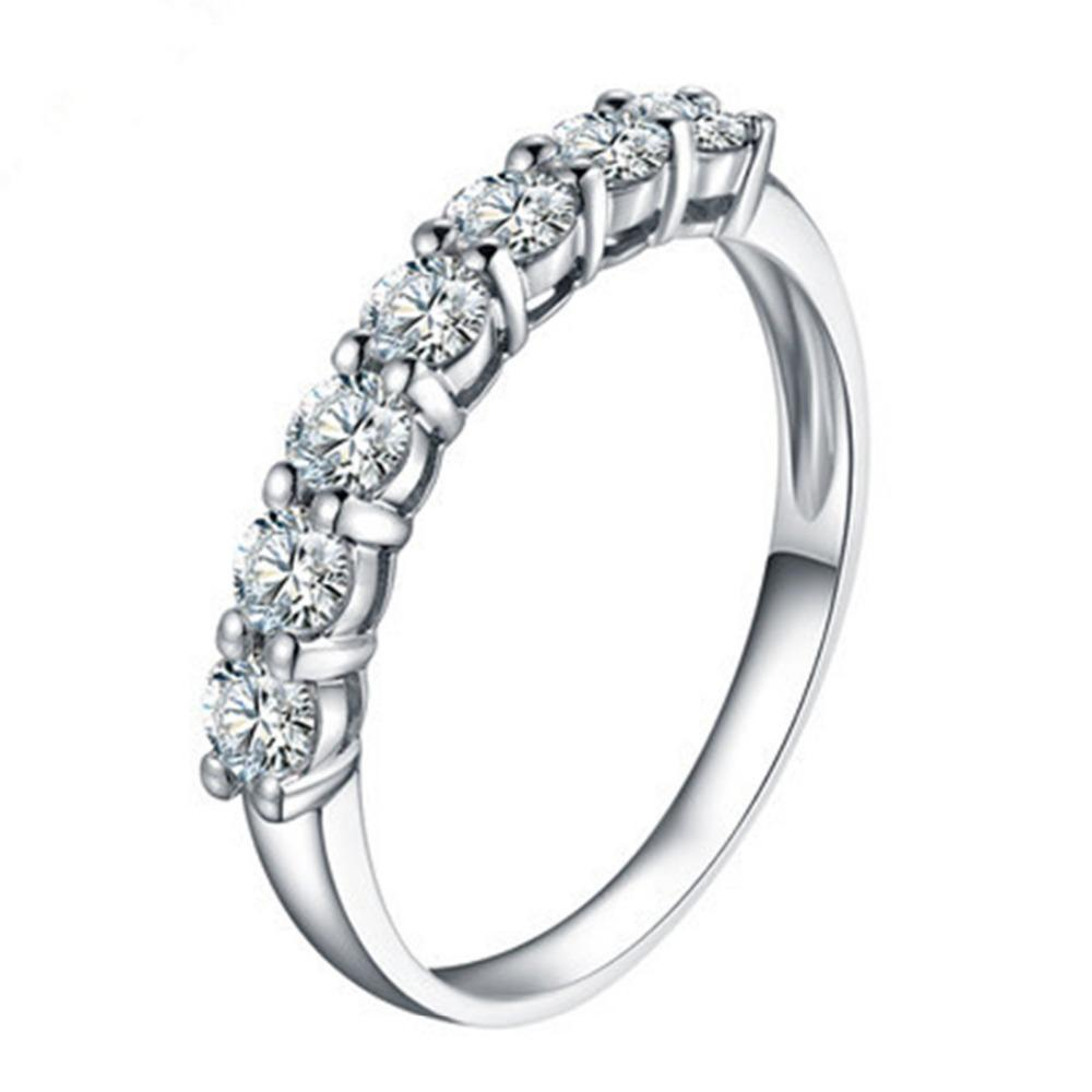 7 камней Оптовая дропшиппинг 0.7 CT Сона бриллиантовое кольцо для женщин стерлингового серебра ювелирные изделия Pt950 штампованные Платиновая пластина S18101002