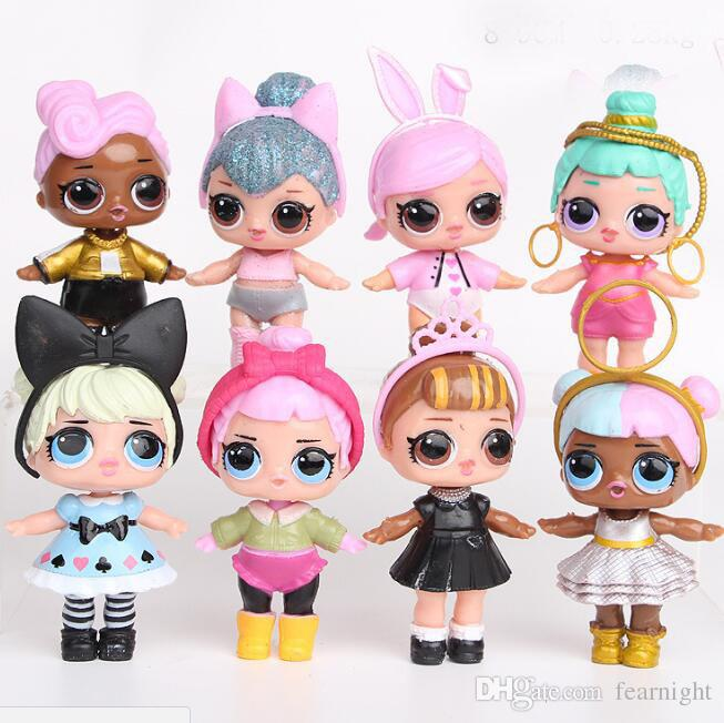 LoL Doll with feeding bottle American PVC Kawaii Children Toys Anime Action Figures Realistic Reborn Dolls for girls 8set/Lot