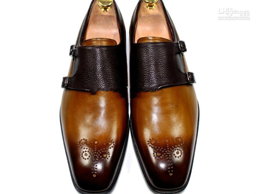 Elbise ayakkabı Monk ayakkabı oxford özel el yapımı ayakkabı hakiki dana deri renk kahverengi çift tokaları yeni varış HD-0130