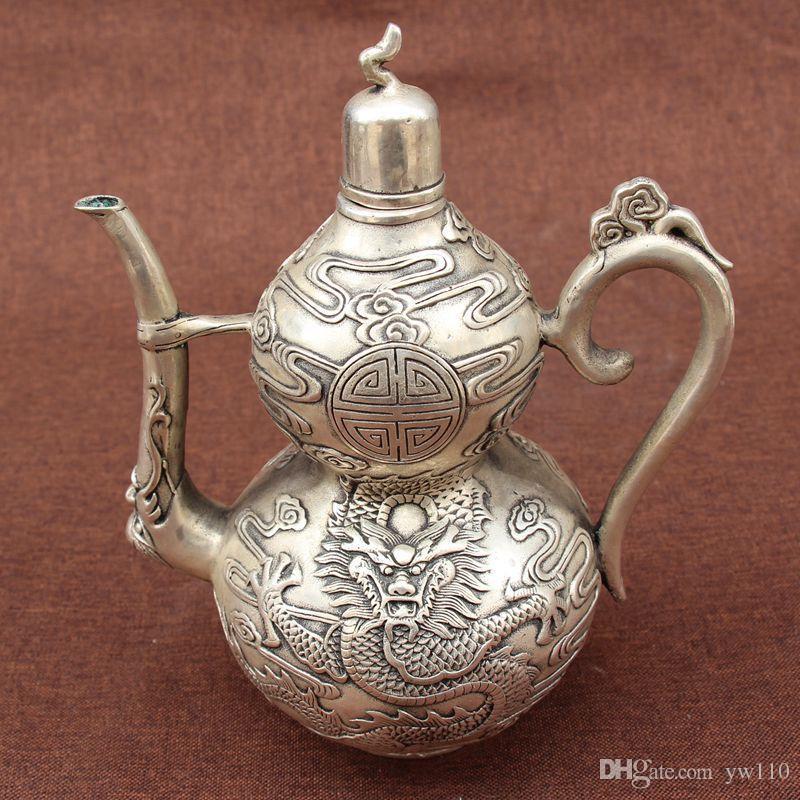 Archaize cuivre électrodéposition théière en argent flacon thé