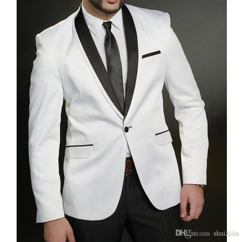 Cheap White And Black Wedding Suits Groom Tuxedos 2018 Two Piece Trim Fit Best Men One Button Business Party Men Suits Jacket Pants Dinner Jacket
