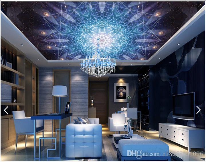 Оптовая продажа-пользовательские 3D обои для стен 3D потолочные обои фрески синий классический узор Национальный ветер гостиная потолок росписи декор