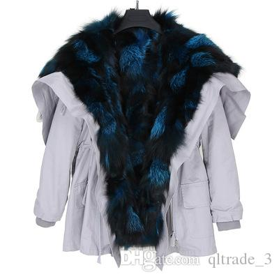 Cappotto invernale in pelliccia di volpe blu argento di lusso, cappotti invernali in argento, pelliccia di volpe blu foderata, parka medio bianco, USA germania