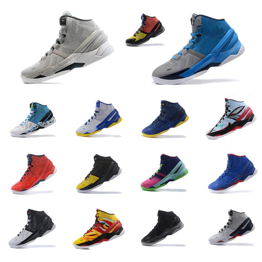 official photos f4b15 3a1e6 2019 Cheap Mens UA Curry Two Basketball Shoes MVP China Grey Blue Black Red  Yellow White USA Stephen Currys 2 Sneakers Boots For Sale With Box From ...