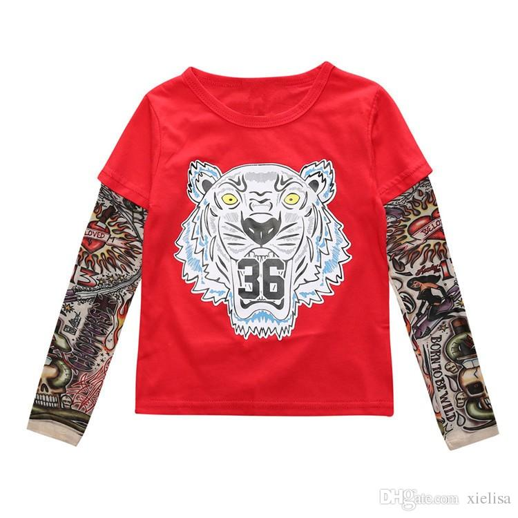 red Cool Baby Boys Girls T shirts Tattoo Sleeve Children Mesh Long Sleeve Cotton Tops Tees 2018 Kids&Toddlers Shirts Clothes Free shipping