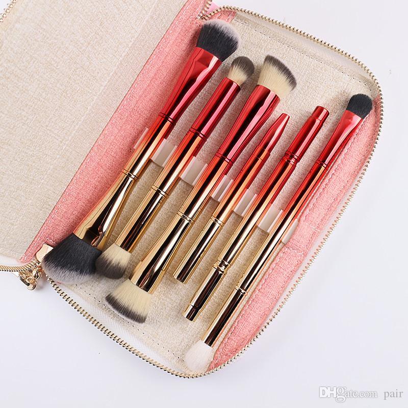 휴대용 6pcs 더블 브러시 머리 메이크업 브러쉬 전문 화장품 브러시 키트 가방 골드와 레드 파우더 메이크업 브러쉬