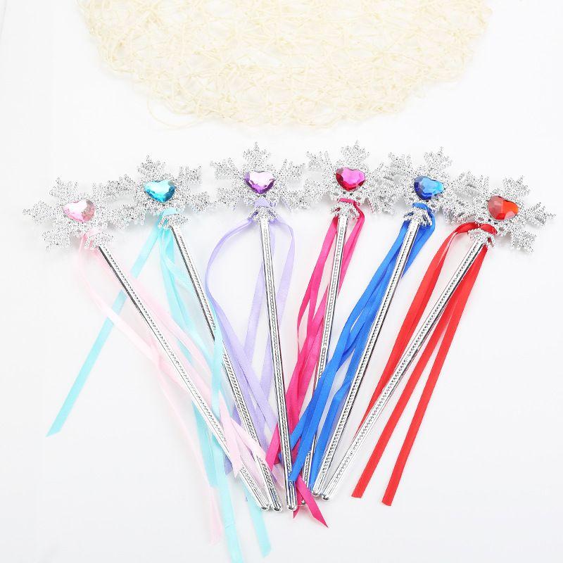 Princess snowflake ribbons magic wand baby girls Fairy wand cartoon Rhinestones snowflake Wand gem magic sticks party props decoration C3629
