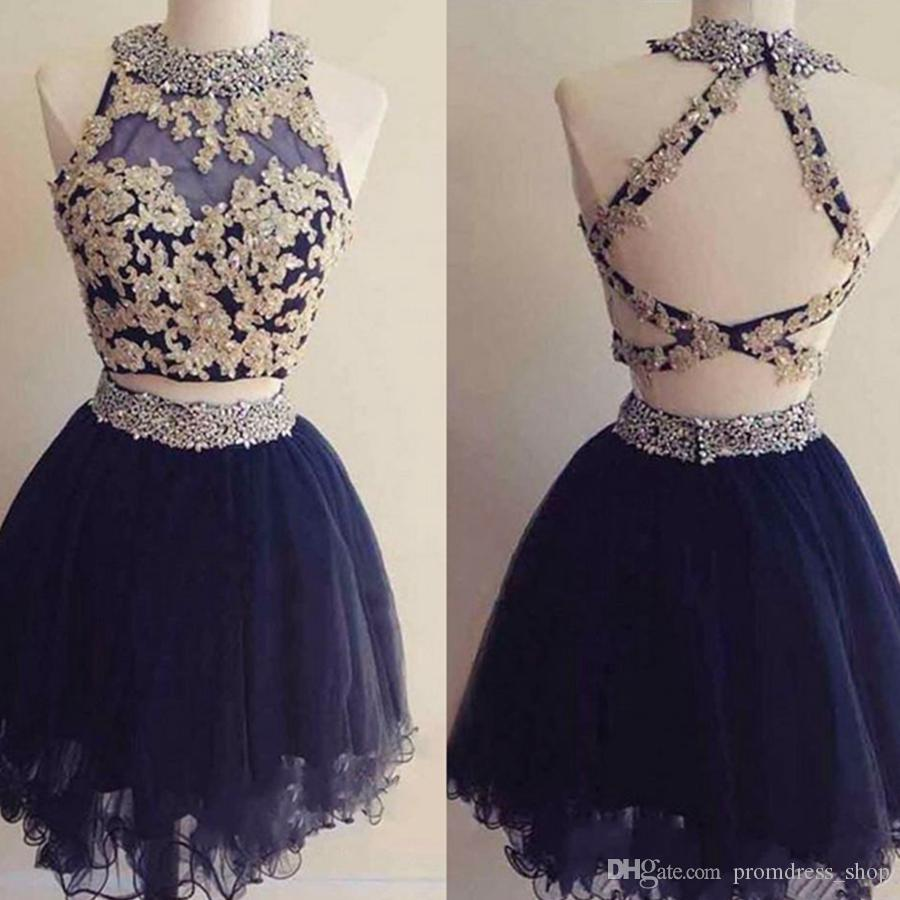 New Cute Two Pieces Mini Short Homecoming Dresses Navy Blue Appliques Beaded Backless Sweet 16 Graduation Dresses Short Cocktail Party Gowns