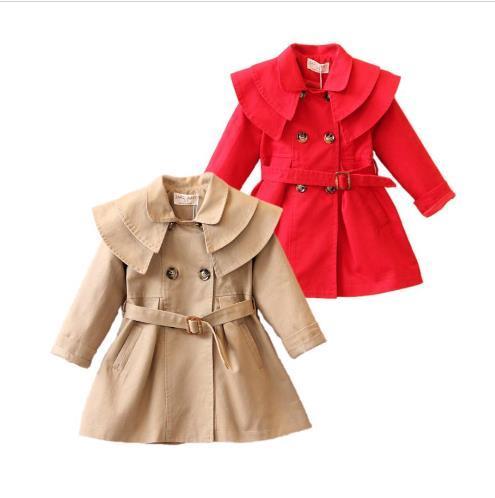 Bambina causale Trench Cappotto Giacca da trincea in cotone solido europeo per 1-6 anni ragazze bambini bambini tuta sportiva cappotto vestiti caldi
