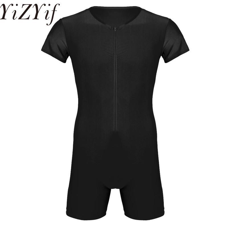 YiZYiF Sexy Mens Wetlook Une pièce Spandex Singlet Boxer Tight Sous-Maillot Justaucorps Body Fetish Sous-Vêtements Zentai Suit