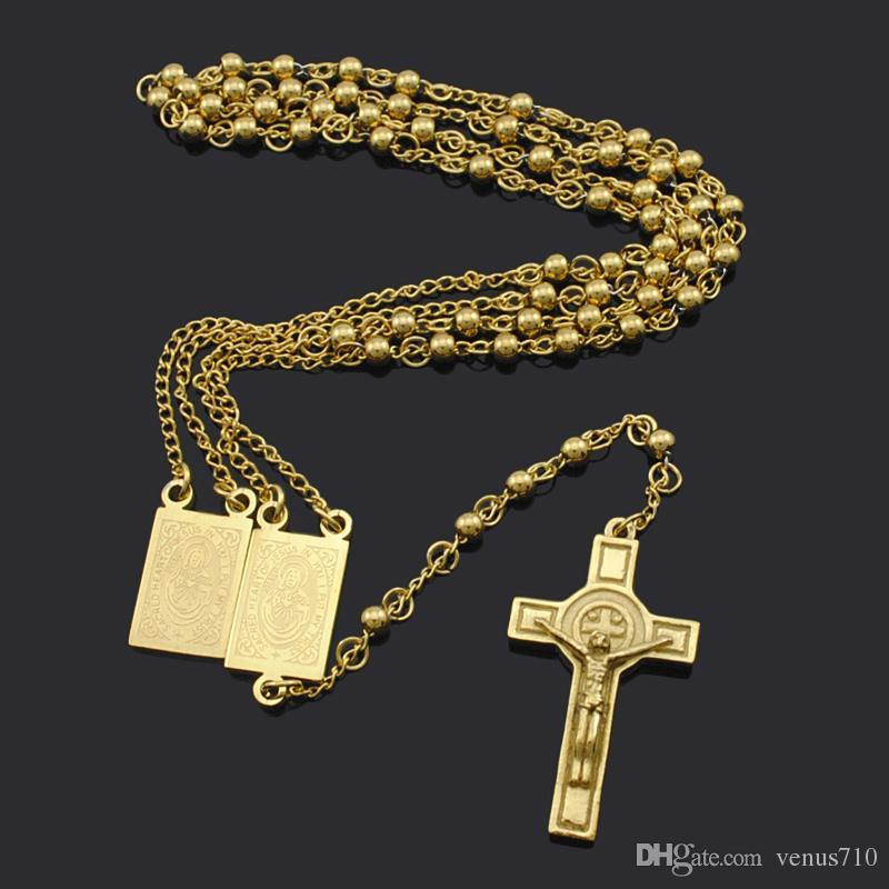 Wholesale-18K Gold Plated Rosary Beads Jesus Piece Cross Religious Stainless Steel Necklace Womens Mens gold chain for men Hot Sale BRN18