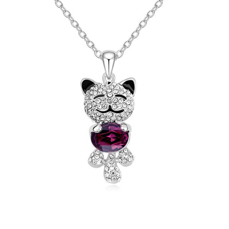Wholesale Cute Teddy Bear Pendant Necklace Women Kids Jewelry Made With Crystals Elements Crystals Free Shipping