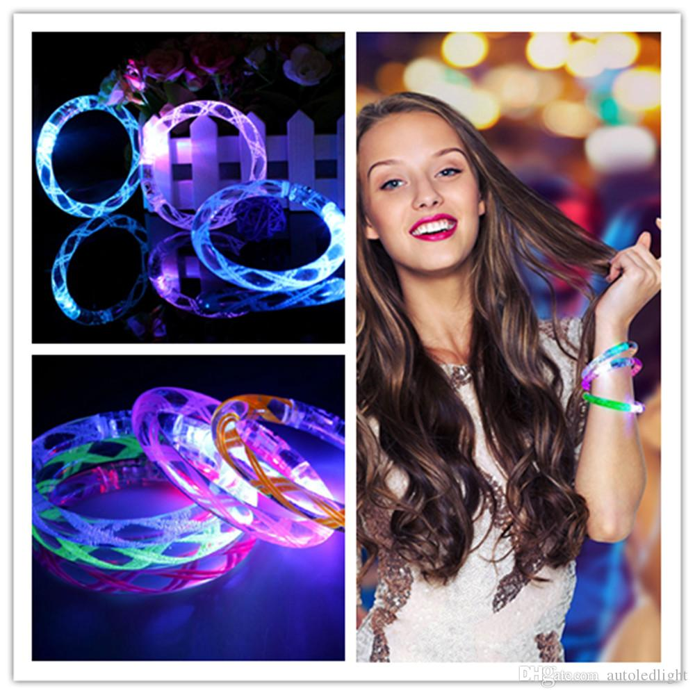 Novelty Lighting LED bracelet light up flashing Glowing bracelet Blinking Crystal bracelet Party Disco Christmas Gift