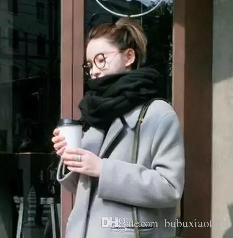 Korean Version Pure Color Wool Scarf Women Winter Long Style Students Wear Imitation Cashmere Scarves Men Winter Shawls To Keep