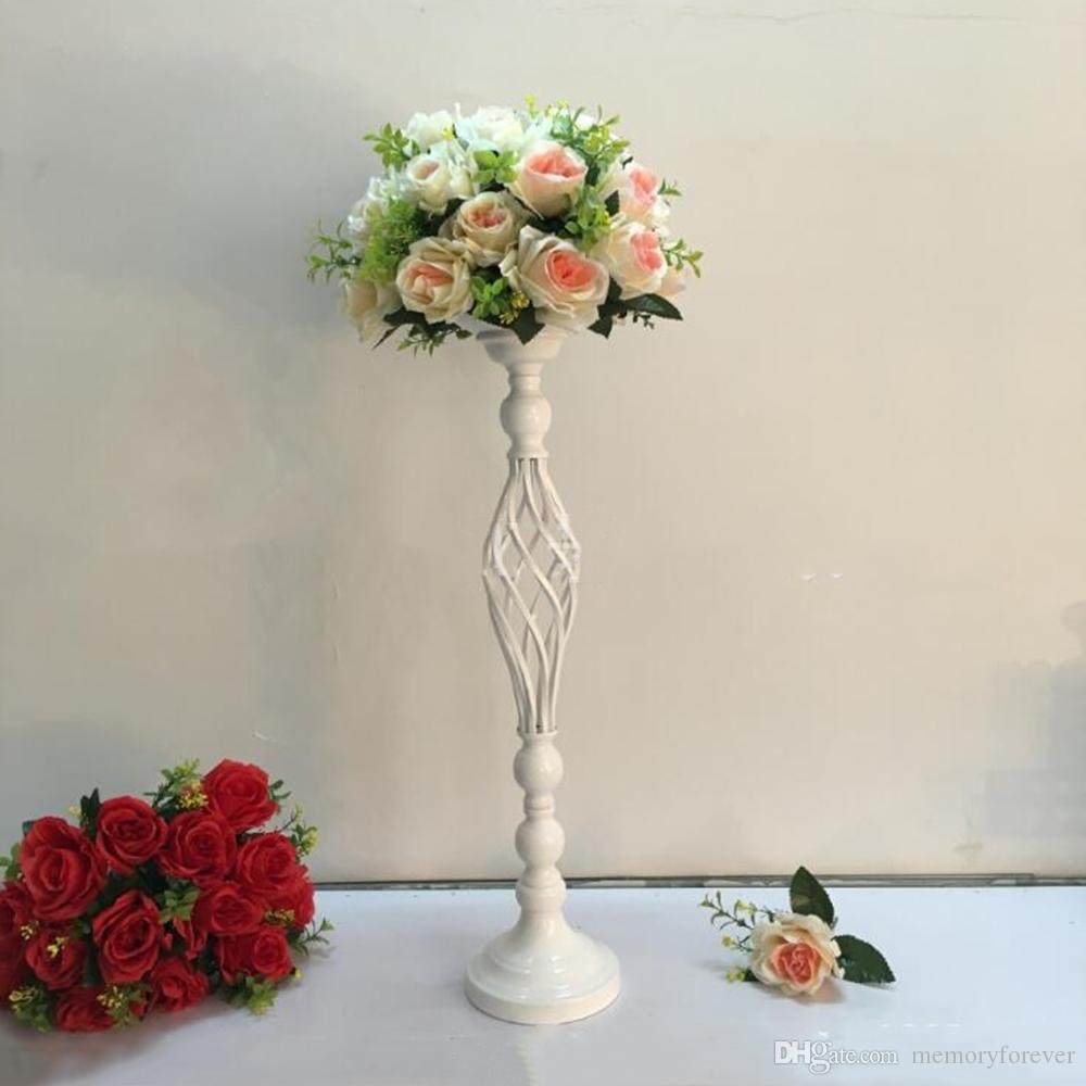 10PCS/LOT Creative Hollow White Candle Holders Candlestick Wedding Table Road Lead Flower Rack Decorative Vase Stand