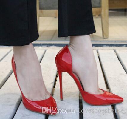 Gris Negro Desnudo Bombas de Charol Moda Clásica Punta estrecha Tacones de aguja Mujeres Vestido de Fiesta Zapatos de Boda Mujer