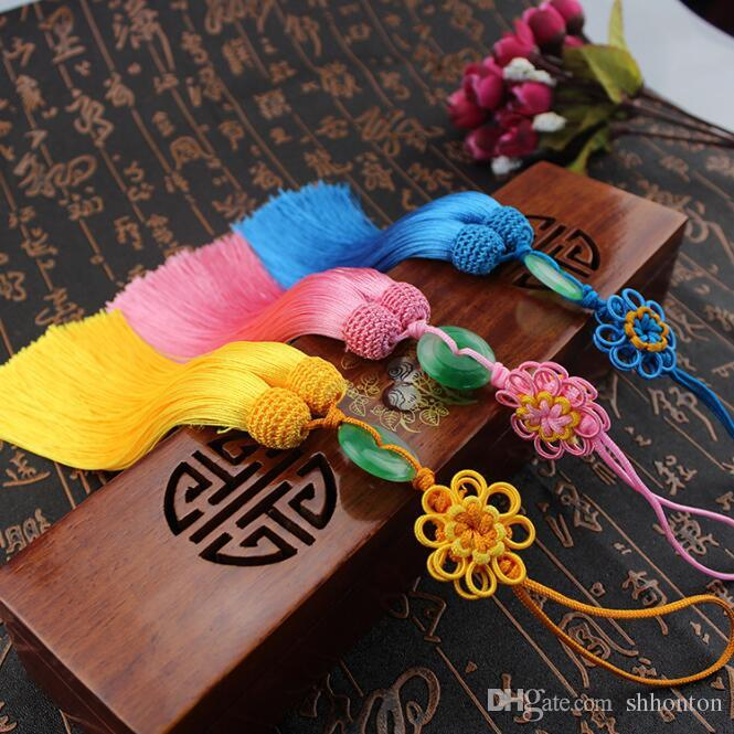 Sunflower jade Chinese knot pendant vertical soft clothing key tassel hanging ear about 33cm long free shipping FD13