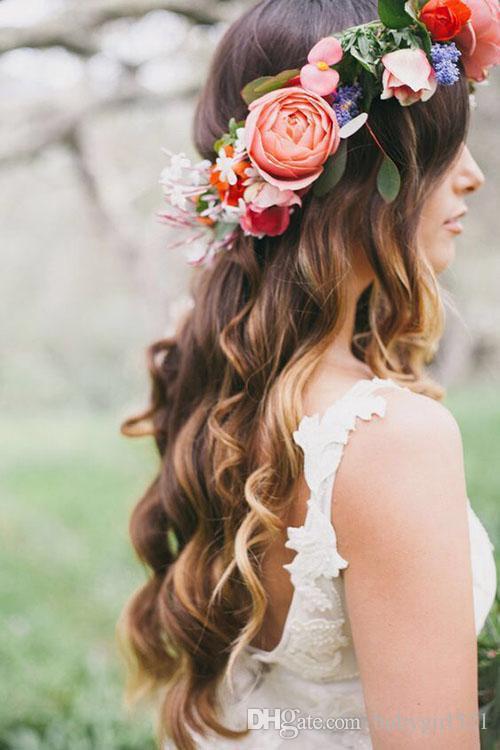 Bohemia romántica flor de la boda diadema tocado nupcial flor nupcial corona boho guirnalda de novia novias cabeza guirnalda flores del pelo
