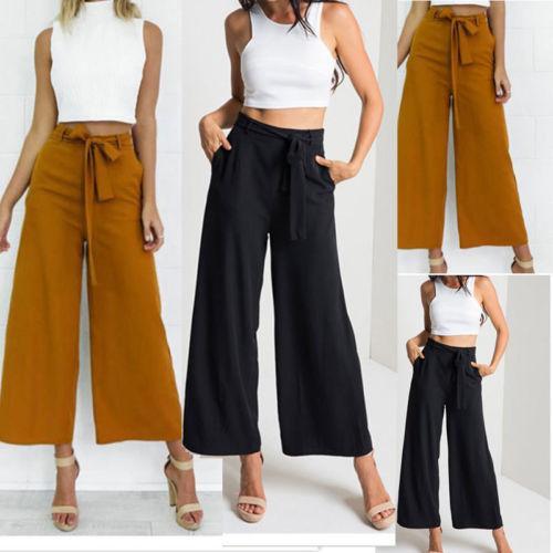 Großhandel Mode Damen Damen Palazzo Hosen Koreanische Art Hohe Taille Breite Beinhose Lose Beiläufige Bandagen Lange Hose Von Maoyili, $43.29 Auf
