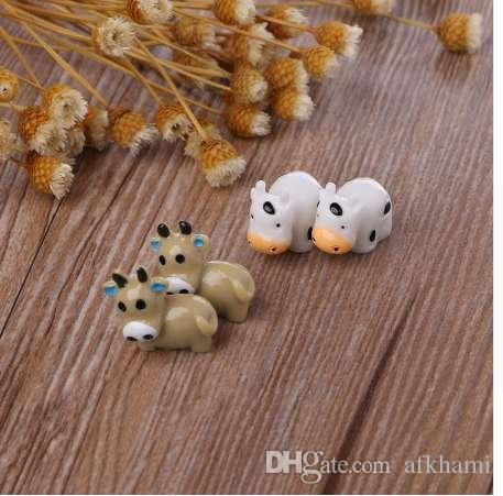 Fairy Garden Miniature Cow Animal Figurine Craft Micro Landscape Ornament Decor
