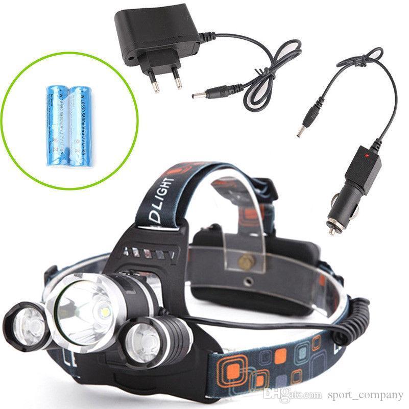 LED Headlamp 6000 Lumens 3 x XM-L T6 Headlight Snow Proof High Power LED Headlamp Head Torch Lamp Flashlight Head +charger+car charger