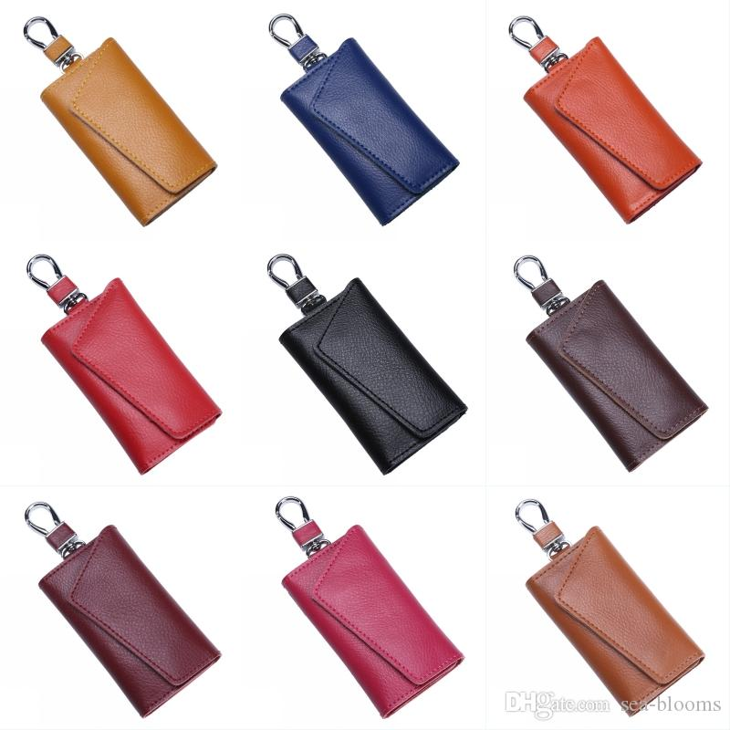 Fashion Leather Car Key Bag Men Women Multi-Function Key Ring Large Capacity Handbag Leather Waist Hanging Support FBA Drop Shipping H901F