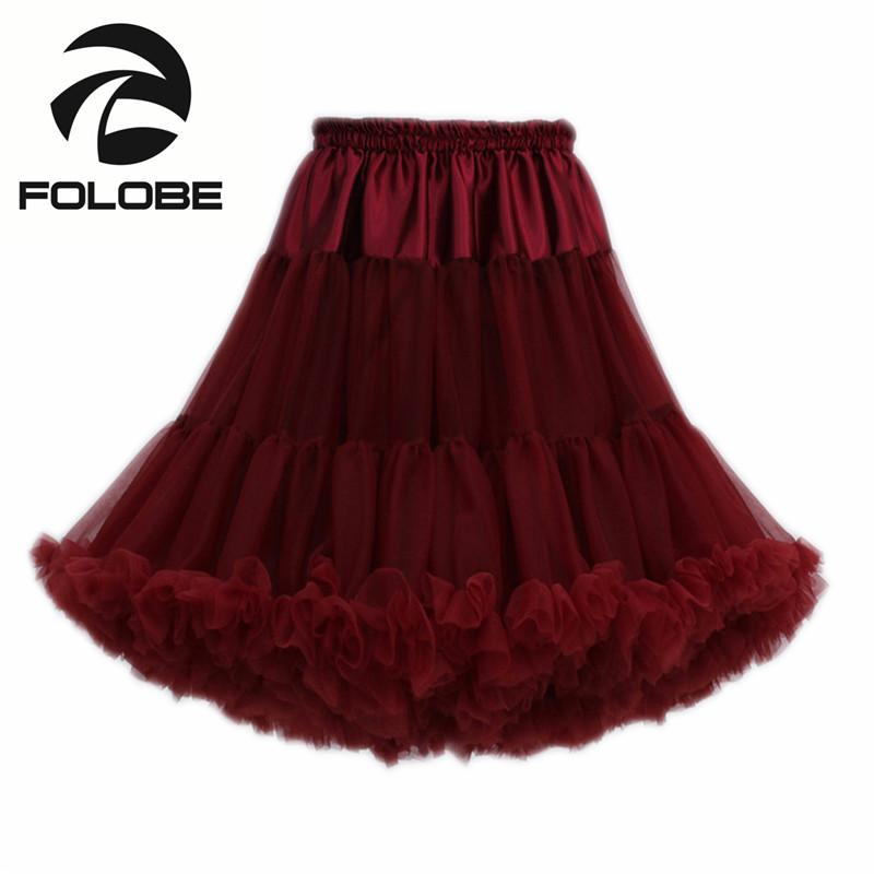 3683fec48e FOLOBE Wine Red Dancewear Performance Skirts Ball Gown Tulle Tutu Skirt  Knee Length Skirts Adult tutu Faldas Saias Femininas