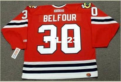 Mens #30 ED BELFOUR Chicago Blackhawks 1994 CCM Retro Home Hockey Jersey or custom any name or number retro Jersey