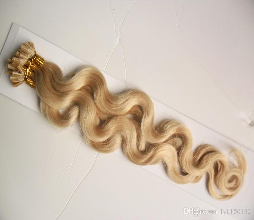 U Ponta Extensões de Cabelo Humano brasileiro onda do corpo queratina ponta da ponta do cabelo extensões de 100g de queratina vara ponta extensões de cabelo humano