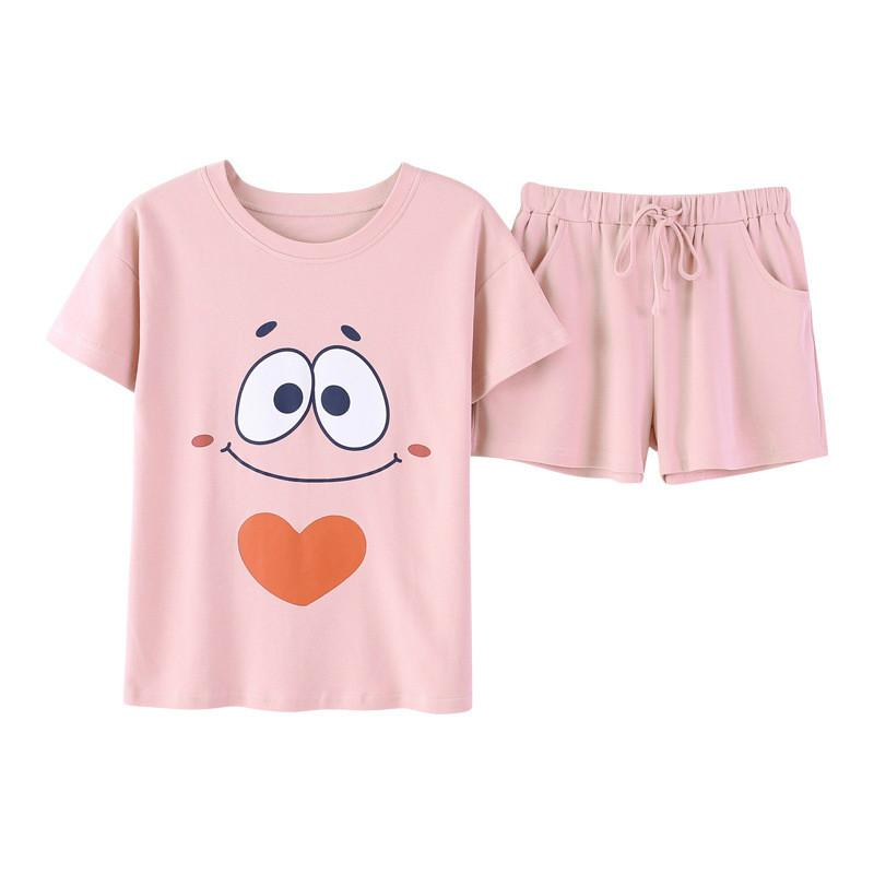 Yasemeen Casual Pink Short Sleeve Shirt Lacing Shorts Pajamas Set Cute Cotton Nightgown for Young Girls Cotton Sleepwear Comfort