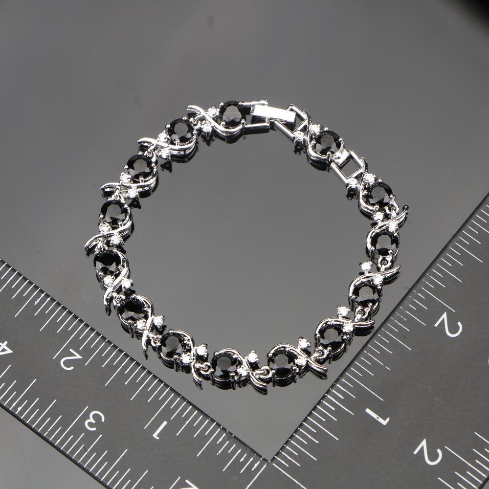 Frauen Schwarz Zirkonia Weiß CZ Silber 925 Schmuck Sets Armbänder / Ohrringe / Anhänger / Halskette / Ringe Kostenlose Schmuckschatulle
