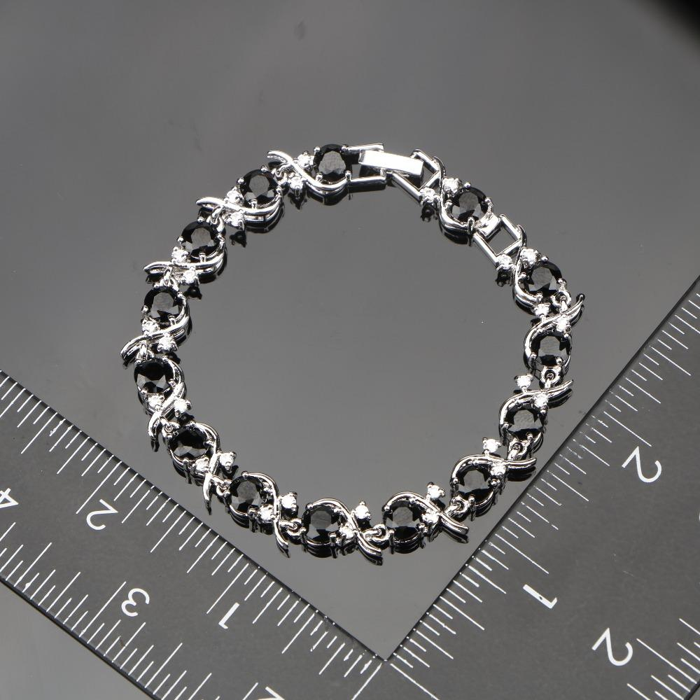 Kadınlar Siyah Kübik Zirkonya Beyaz CZ Gümüş 925 Takı Setleri Bilezikler / Küpe / Kolye / Kolye / Yüzükler Ücretsiz Mücevher Kutusu