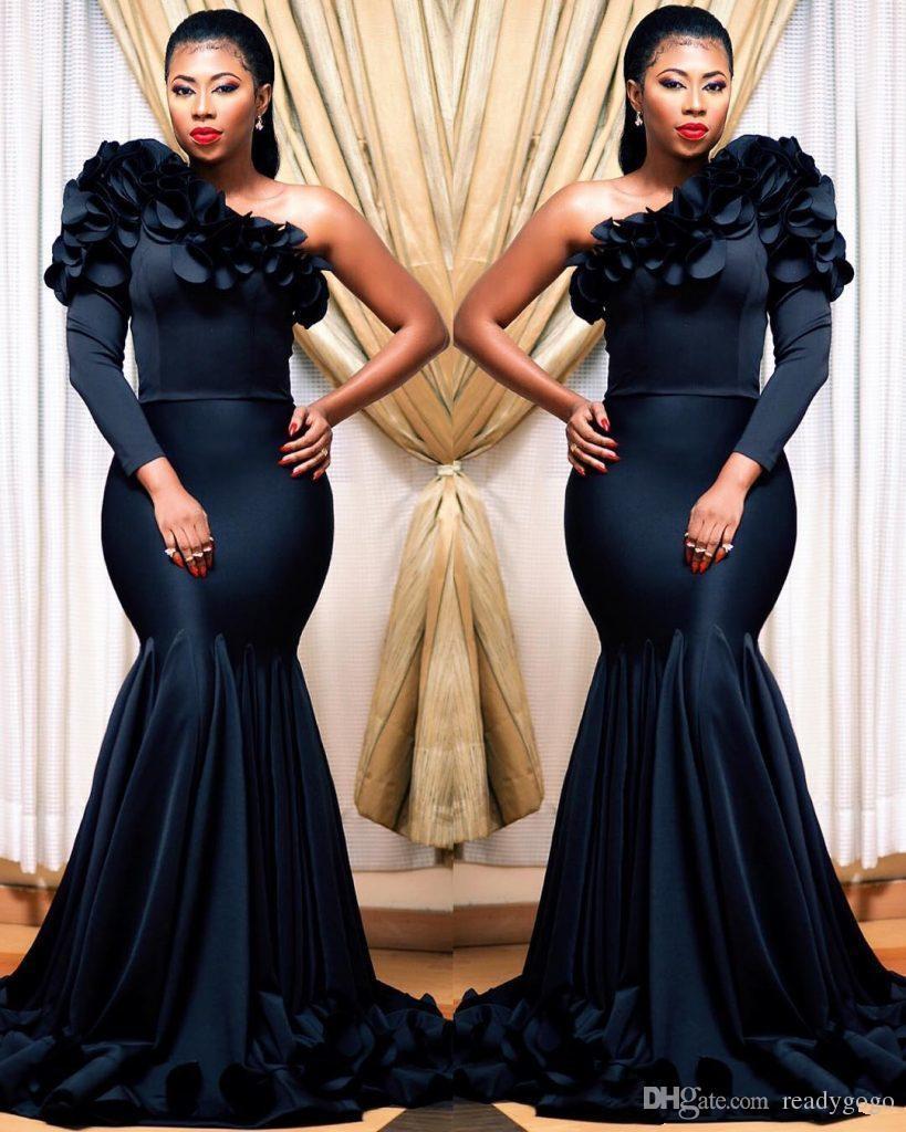 Abiti da sera a africani da sera a maniche lunghe a console nero Abito da sera africano a africano elegante abito da festa per le donne Vestidos Festa