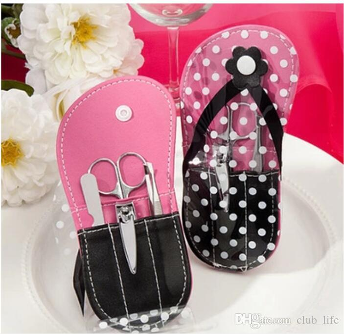 Pink Flip-Flop Pedicure Kit Slipper Nail Manicure Set Bridal Shower Favors Wedding Favor Party Gift Souvenirs