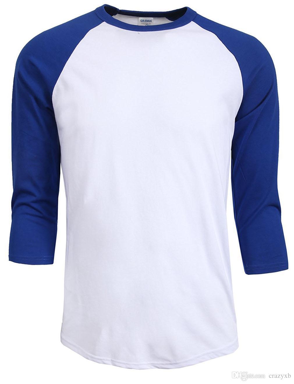 новая мода 2017 горячие продажа лето осень мужчины О-образным вырезом 100% хлопок футболки мужская повседневная 3/4 рукав футболки реглан Джерси рубашка человек
