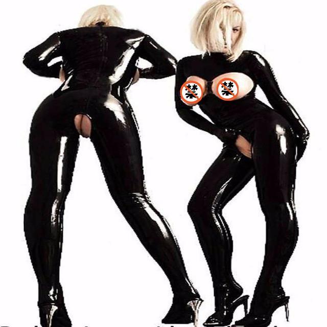 Mujeres Sexy Látex PVC Disfraces Eróticos Leotardo Wet Look Mono Negro Catsuit Escenario Jugar Ropa Clubwear Body Uniformes de Juego