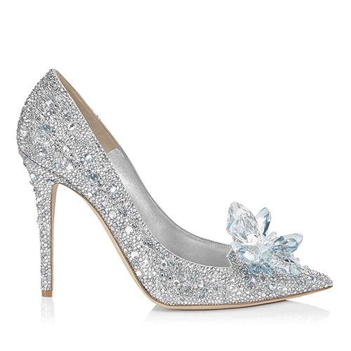 JC Bling Kristallblumen Silber Cinderella Schuhe Princess Strass hohe Absätze Brautbrautschuhe Sexy Tacones Spitzschuh-Frauen-Pumpen