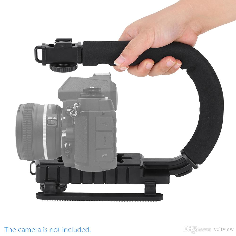 Lo nuevo U / C Shape flash soporte del sostenedor del video manija Handheld Stabilizer Grip para DSLR SLR Camera Phone para Sports Action Camera DV Camcorder
