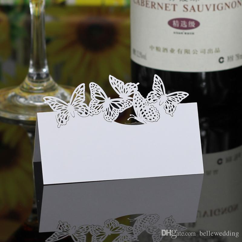 Laser Cut Place Cards Hollow Paper Name Card With Butterflies Shell For Party Wedding Seating Cards Wedding Table Decorations PC2001