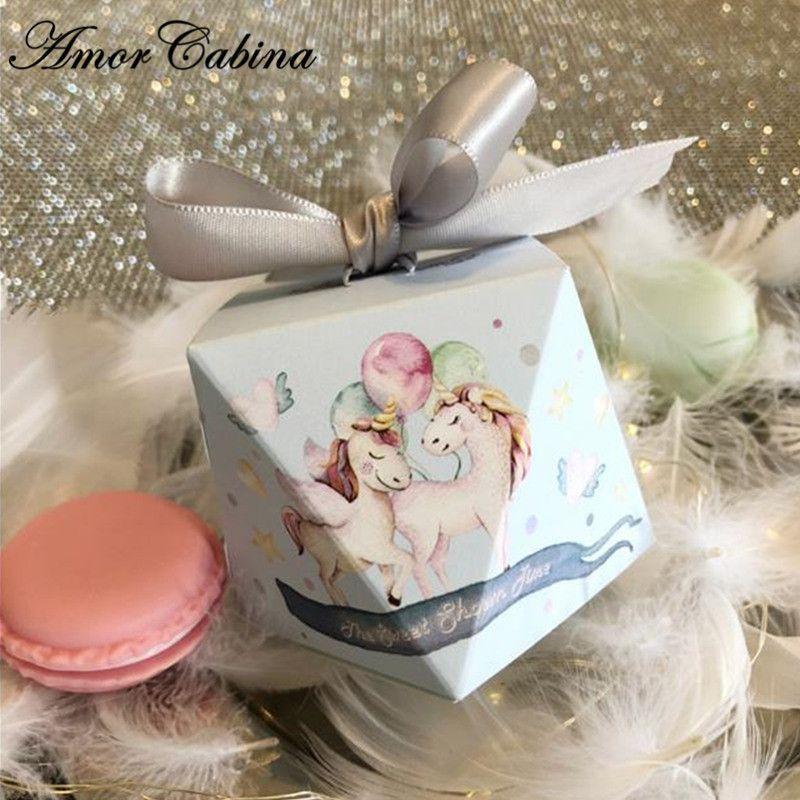 50pcs 블루 만화 유니콘 다이아몬드 결혼 선물 사탕 상자 아기 샤워 생일 파티 장식 초콜릿 상자 리본