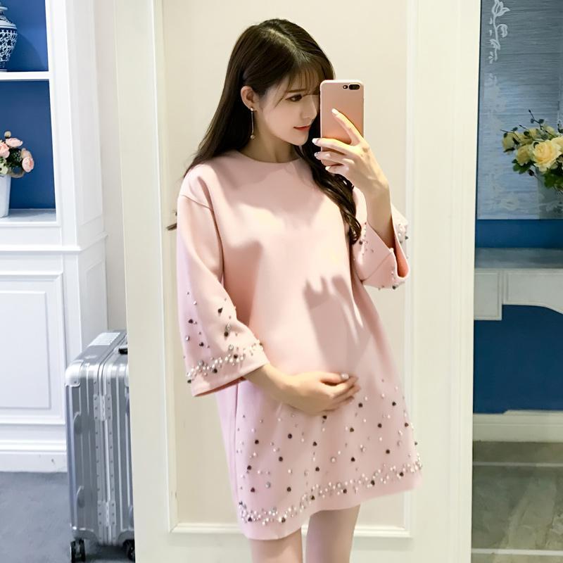 Otoño moda coreana abrigos de maternidad abalorios camisa suelta ropa para mujeres embarazadas elegante de gran tamaño embarazo Tops