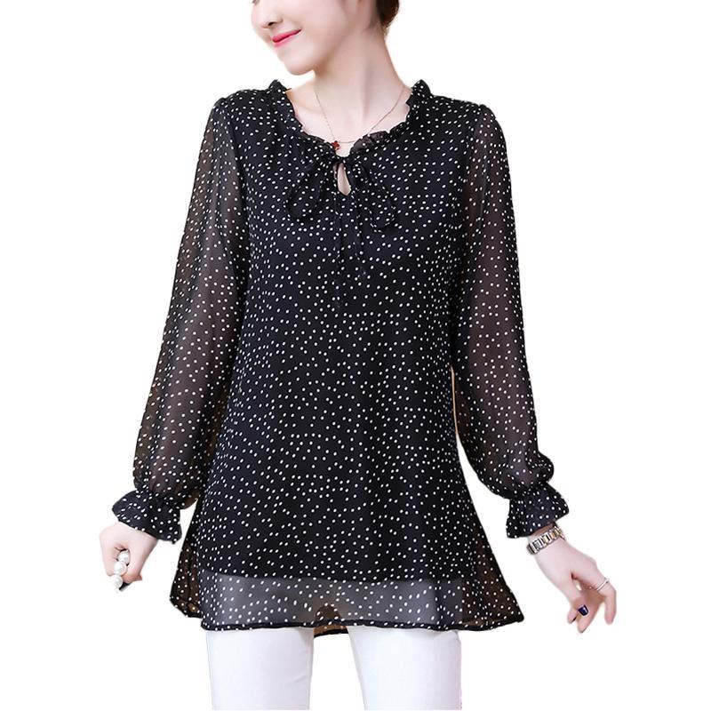 Plus size Polka Dot Shirts Autumn Women Fashion Ruffles Loose Chiffon Feminine Blouse Top Korean Black Office camisas mujer