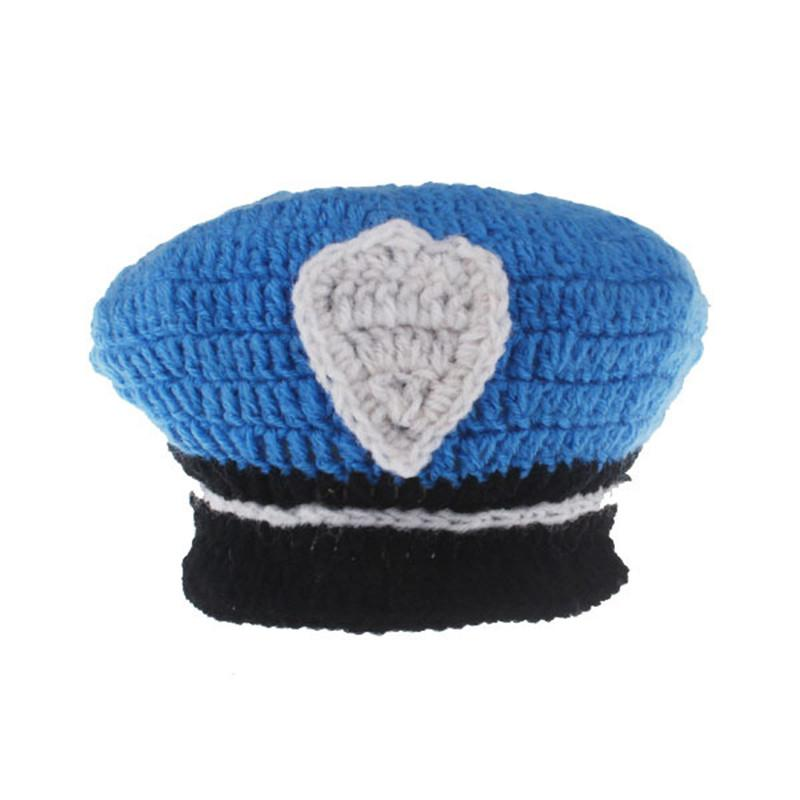 2016New Born Photography Props Baby Boys Cotton Thread PoliceMan Crochet Knitted Costume Outfit Winter Hat OnThe Boy New Arrival (1)