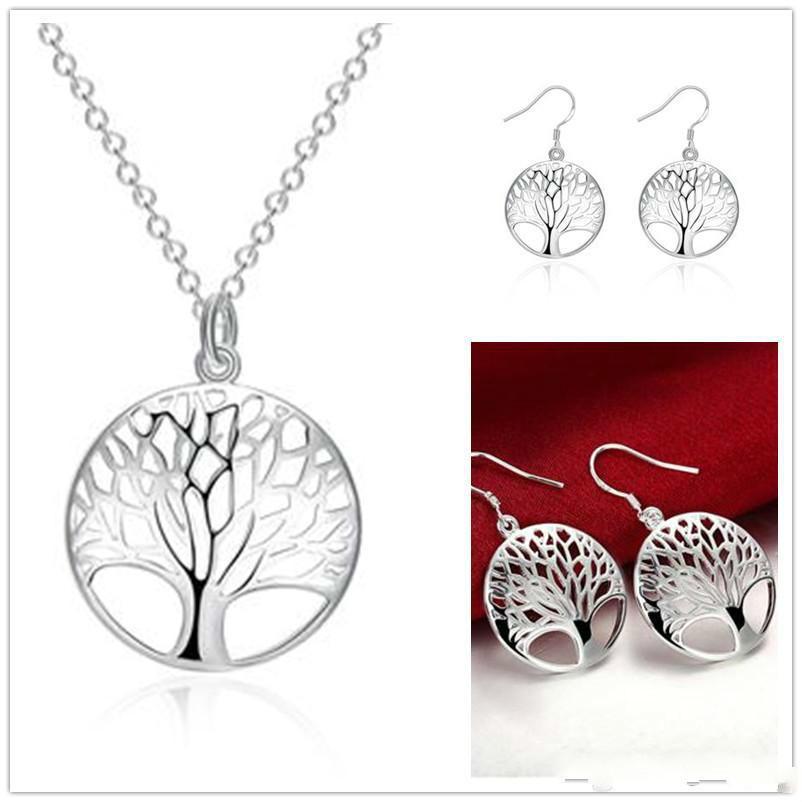 925 Gümüş Yaşam Hayat Ağacı Kolye Kolye Fit 18 inç O Zincir Veya Küpe Kadınlar Için Bilezik Halhal Kristal Kolye Kız Takı