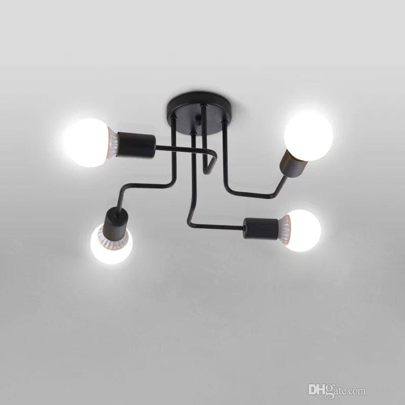 2017 Vintage Ceiling Lights Iron Multiple Rod Ceiling Lamp Creative Retro Personality Luminaria Industrial Home Lighting Fixture