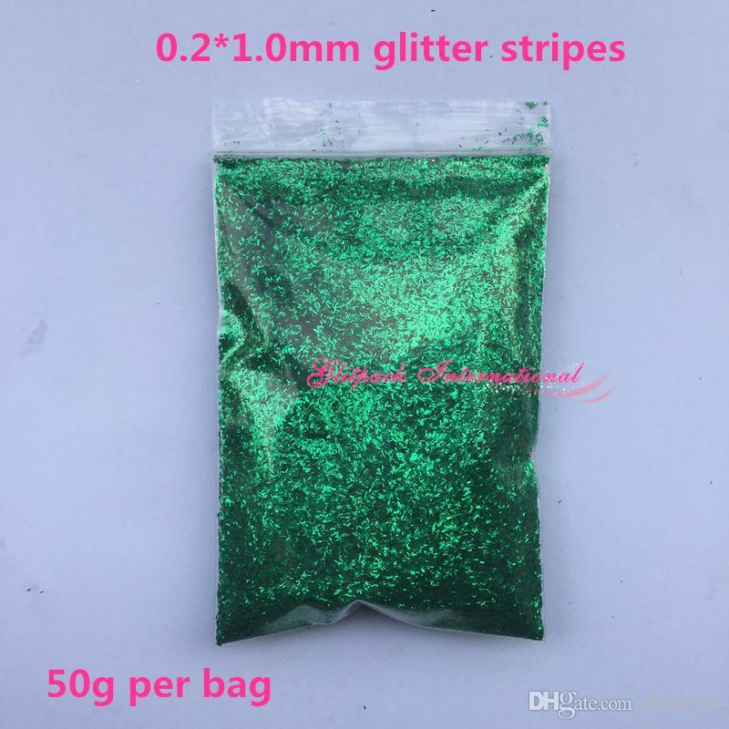 Frankening Tedarik yeşil glitter Nail Art Işçiliği 0.2 * 1.0mm tırnak pırıltılar 50g tıknaz gevşek ham tırnak sanat glitter elyaf Glitter