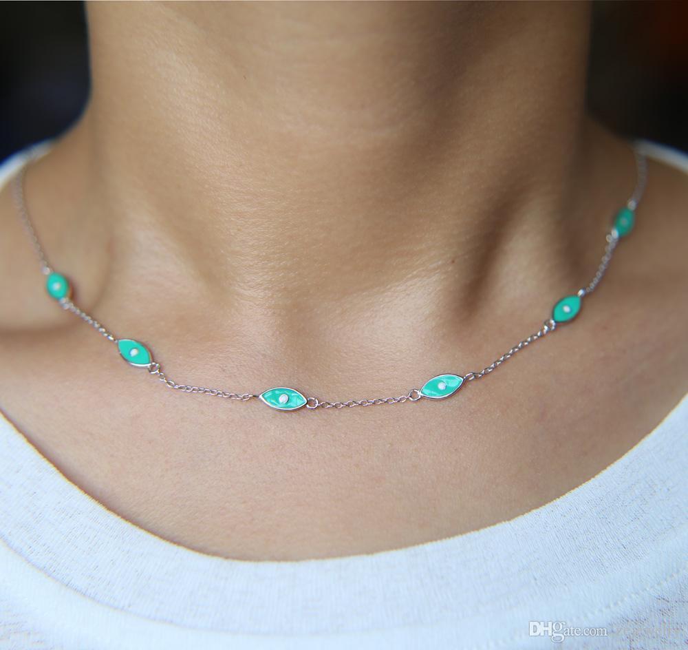 EVIL EYE TINY ENAMELED BLUE Necklace  PROTECTION 925 STERLING SILVER Gift boho